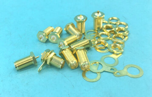 10 PCS SMA female plug RF Connectors Coaxial Adapter Chassis Panel mount Solder