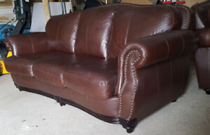 Classic Brown 100% Leather Sofa Set LIKE NEW