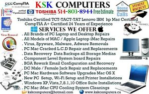 Computer Repair Mac PC LCD Repair VirusClean Data Recovery A+