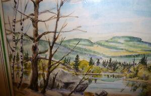 """Kurt Maurer """"Laurentian Spring"""" 1978 Original Vintage Watercolor Stratford Kitchener Area image 7"""