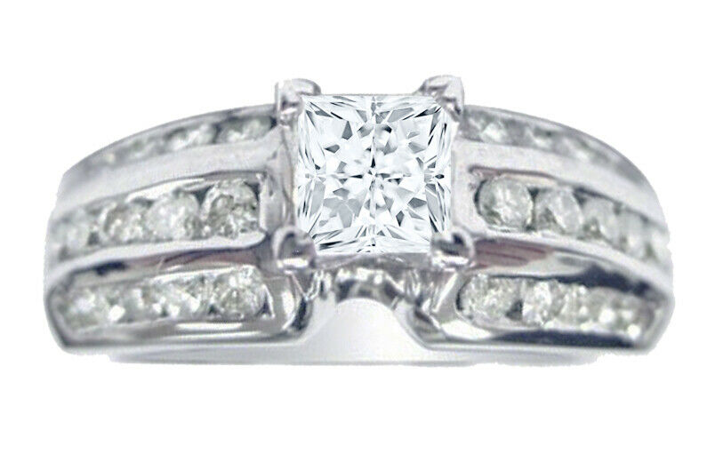 GIA Certified Diamond Engagement Ring 1.90 CTW Princess Cut 14k White Gold