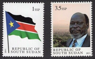 SOUTH SUDAN 2011 Scott 1-2 NH Flag, Dr. Garang - Free USA Shipping