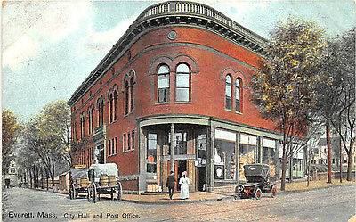 Everett MA City Hall and Post Office Old Car Postcard
