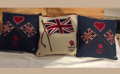 3 X Jan Constantine small linen cushions with appliqued Union Flags and Hear NEW