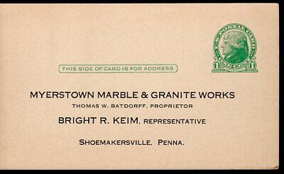 Vintage Advertising Postcard MYERSTOWN MARBLE & GRANITE WORKS SHOEMAKERSVILLE PA