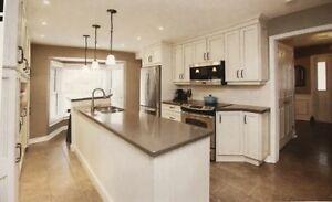 Large Antique Finish White Kitchen with Island and Quartz