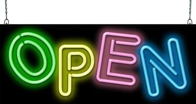 Multi-colored Open Neon Sign Jantec 2 Sizes Kids Store Fun Ice Cream