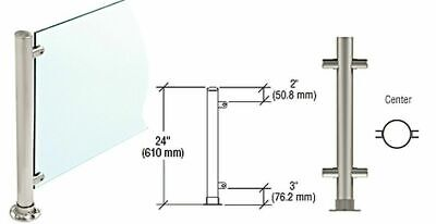 Commercial Crl Pp58cbs Brushed Stainless 24 Round Post For Glass Display Sneeze