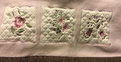 Kids Line Pink Brown Baby Blanket Security Plush Flower Square