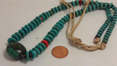 reconstituted turquoise disc/pure Nevada turquoise pendant necklace//(g215-w1.5) ()