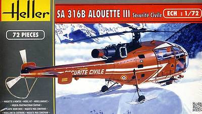 Heller Alouette III Securite Civile Rescue Helicopter 1:72 Model Kit Set
