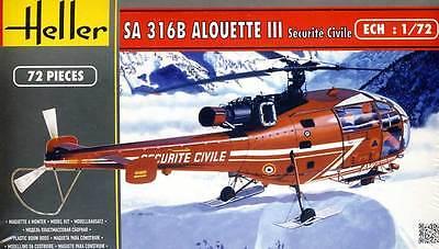 Heller Alouette III Sécurité Civile Helicóptero Del Rescate 1:72
