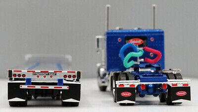 DCP 1/64 SCALE 389 PETERBILT FLAT TOP BLUE, TRANSCRAFT STEPDECK TRAILER #60-0681 1