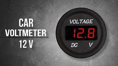 12v Red Led Round Panel Digital Volt Meter Display Voltmeter Waterproof Auto Car