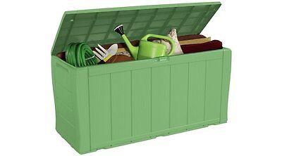 Large Garden Storage Box Plastic Outdoor Lockable Cushions Utility Tool Green