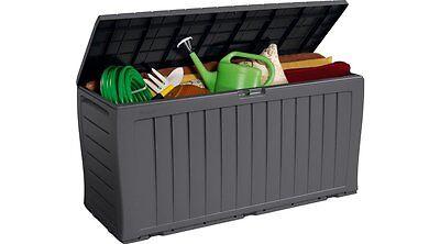 Large Garden Storage Box Plastic Outdoor Unit Cushions Utility Tool Chest Lock