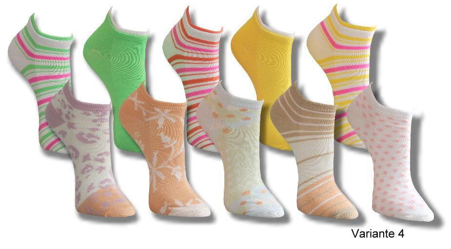 10 Paar Socken Sneaker Füßlinge Strümpfe Damen Mädchen Sneakersocken Ringel bunt