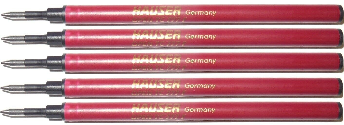 5 Pack – HAUSER 777 Rollerball Pen Refill – Black Fine Point – New Collectibles