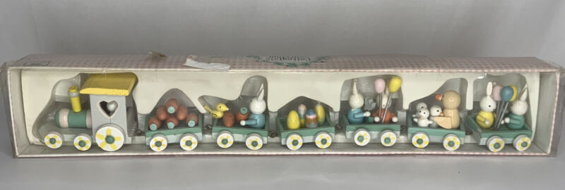 Vintage Cottontale Collection 7 Piece Wood Easter Train