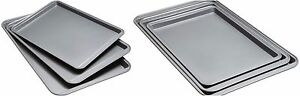 Set Of 3 Stainless Steel Cookie Sheet Non Stick Baking Pan Cook Bakeware Pro