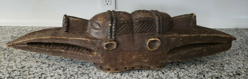antique African wood carved mask two heads Bagu banda past & present 30""