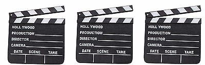 3 HOLLYWOOD CLAPBOARD CLAPPER CLAP BOARDS MOVIE SIGN DIRECTOR'S PROP CHALKBOARD - Clap Boards