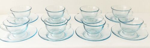 8 BLUE FOSTORIA FOOTED TEA CUPS AND MATCHING SAUCERS