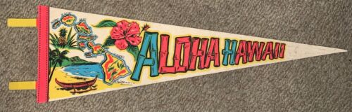 VINTAGE ALOHA, HAWAII WITH ISLANDS FELT FLAG BANNER, PENNANT