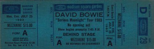 DAVID BOWIE 1983 SERIOUS MOONLIGHT TOUR UNUSED MSG CONCERT TICKET / D29