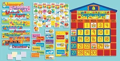 Scholastic SC939405 All-In-One Schoolhouse Calendar Bulletin Board, New, Free Sh (All In One Bulletin Board)