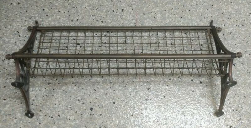 """Vintage 30"""" Brass + Copper New South Wales Railroad Train Luggage Rack Antique"""