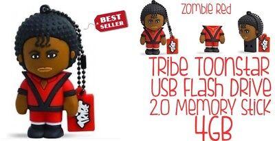4GB USB Flash Drive 2.0 Memory Stick Tribe Toonstar Zombie New