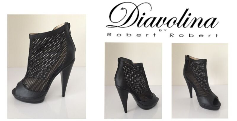 Ladies+Heeled+Shoes+Diavolina+Black+Mesh+Size+5+New+Free+Delivery