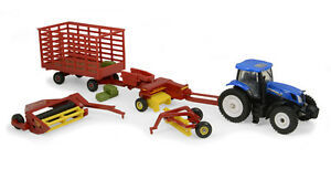 1-64-ERTL-NEW-HOLLAND-T7-270-TRACTOR-HAYING-SET