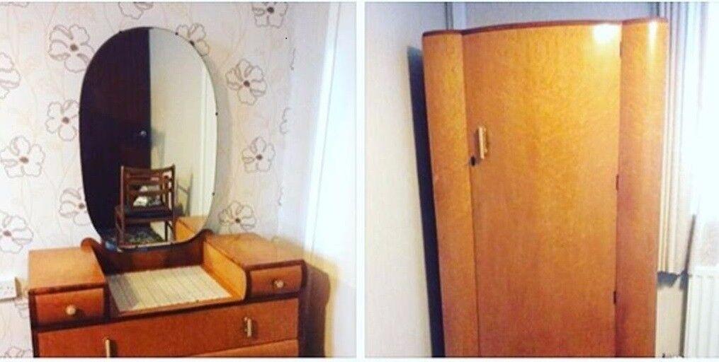Rare circa 1930's Mirrored Dressing table and matching wardrobe