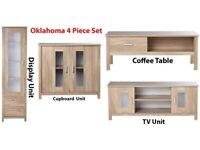 Brand New Oklahoma 4 Piece SET Drawer Display Unit + Coffee Table + Storage Cupboard + TV Unit - Oak