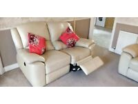 2 x 2 seater cream leather electric reclining sofas