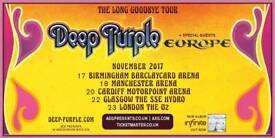 4 x Deep Purple Tickets O2 23rd Nov