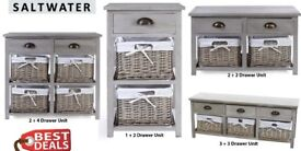 Brand New Saltwater Wood Mixed Range Drawer Unit (1 + 2) (2 + 2) (2 + 4) (3 + 3) Cabinet with Basket