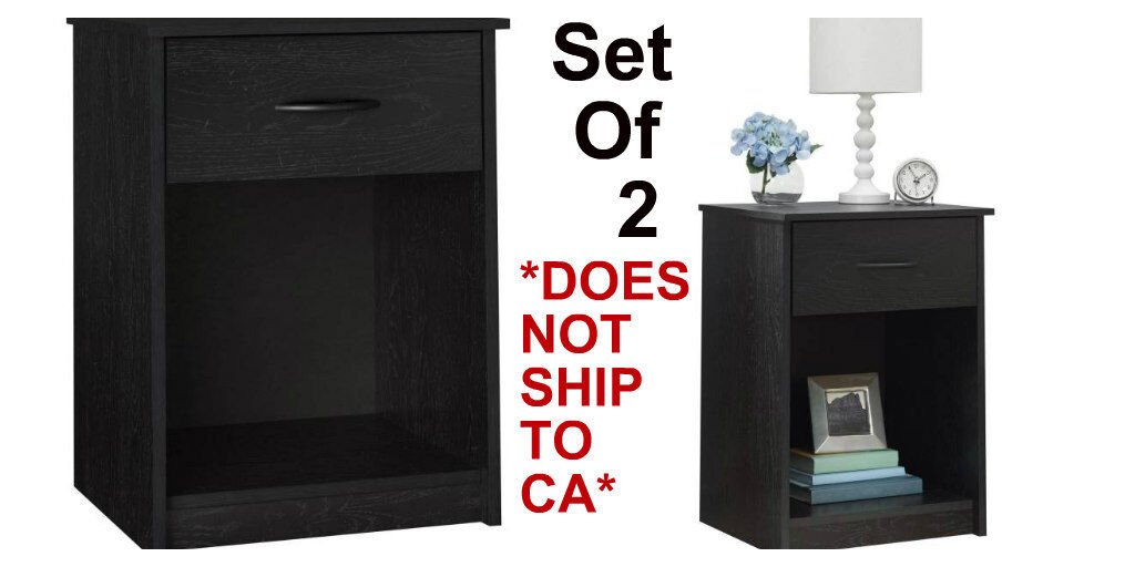 Modern Nightstand End Table Bedroom Ebony Colors Furniture D