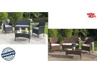 Brand new 4 piece rattan Patio Garden Conservatory Lounge Set Bench/chairs/table Black or Brown