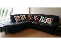 Black Corner Leather Sofa (5 Seatter) from DFS