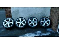 """18"""" 5x112 tettsuts alloy wheels with good tyres"""