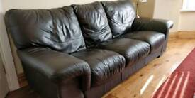 Second hand brown 2 and 3 leather sofa