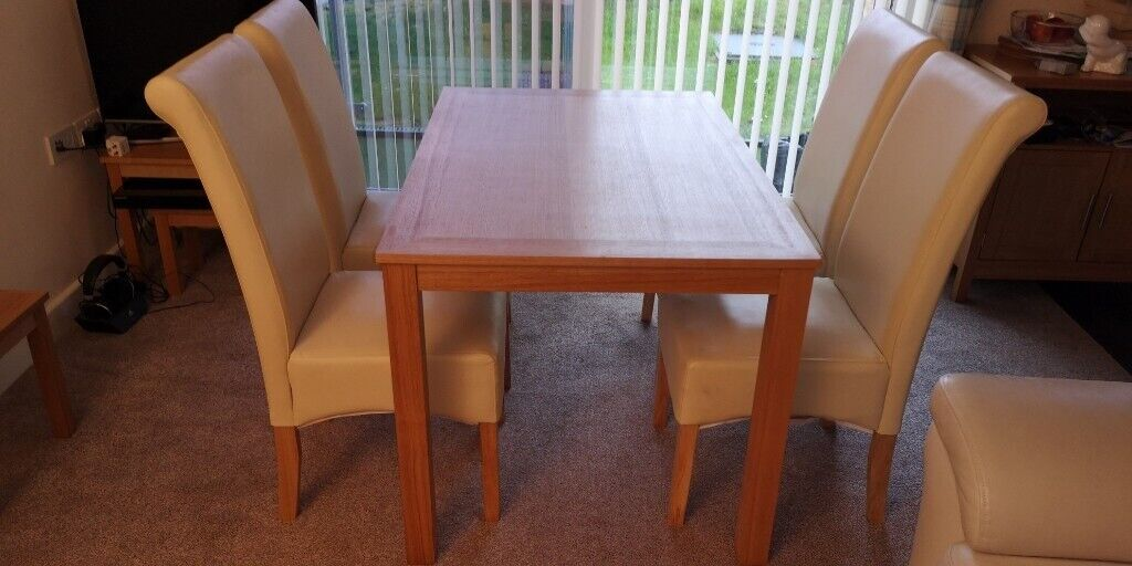 Terrific Teak Dining Table And 4 High Back Cream Chairs In Swansea Gumtree Home Interior And Landscaping Palasignezvosmurscom