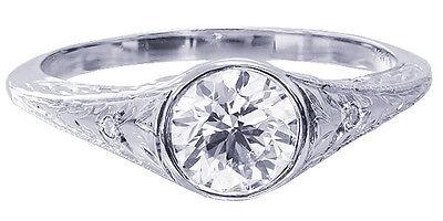 GIA I-SI2 18k White Gold Round Diamond Engagement Ring Bezel Set Deco 0.72ctw