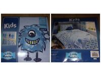 "* BARGAIN RRP £39.99 * LITTLE MONSTERS 66"" X 72"" CURTAINS - FULLY LINED WITH TIE BACKS"