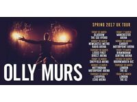 2/4 OLLY MURS TICKETS FOR MANCHESTER 18-03-2017 ROW A SEATS