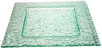 """Dinnerware Green Tinted Clear Glass Plate 8"""" x 8"""" Pebbled Pattern Case of 12"""