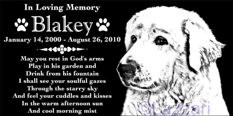 Personalized Great Pyrenees Dog Pet Memorial 12x6 Granite Grave Marker Headstone